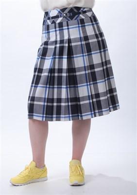 Клетчатая юбка в складку на кокетке - фото 5107
