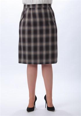 Прямая юбка в клетку - фото 5117
