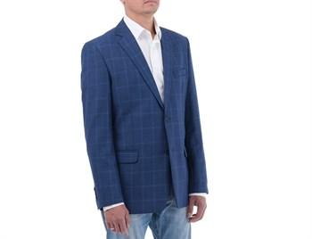 Синий клетчатый пиджак под джинсы Мольер - фото 5362
