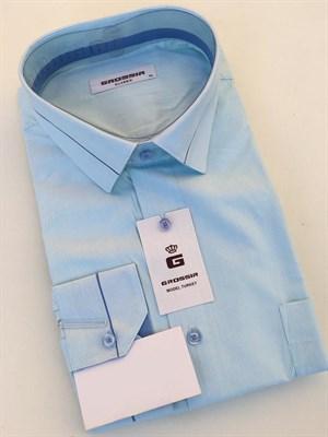 Сорочка мужская в мелкую голубую полоску - фото 5575