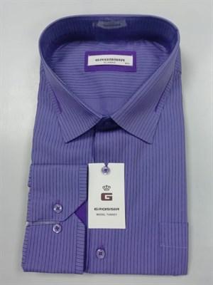 Сорочка мужская фиолетовая в полоску - фото 5578