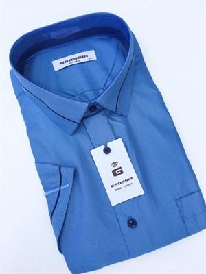 Сорочка мужская короткий рукав синяя в полоску - фото 5582