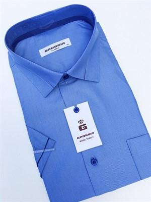 Сорочка мужская короткий рукав светло-синяя в полоску - фото 5584