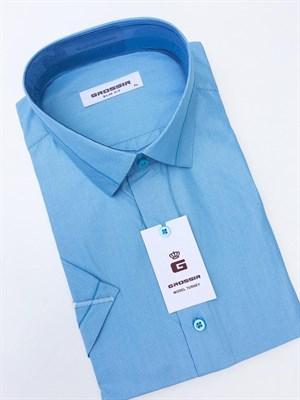 Сорочка голубая в полоску - фото 5585