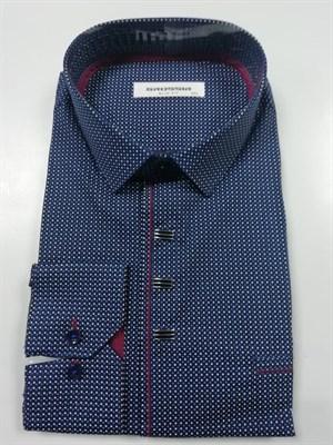 Рубашка мужская темно-синяя с узором - фото 5586
