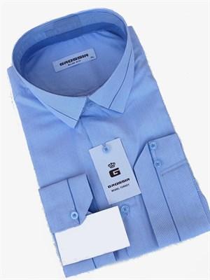 Рубашка голубая в полоску - фото 5593