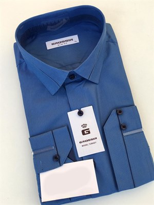 Сорочка мужская синяя в узкую полоску - фото 5595