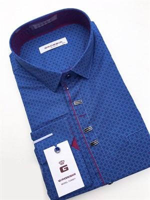 Сорочка приталенная синяя с узором - фото 5599