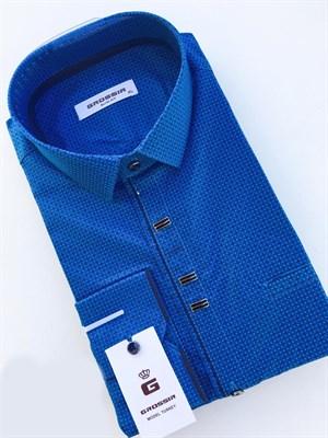 Сорочка мужская приталенная синяя с узором - фото 5601