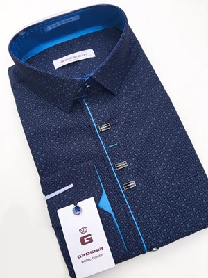 Сорочка темно-синяя с узором - фото 5602