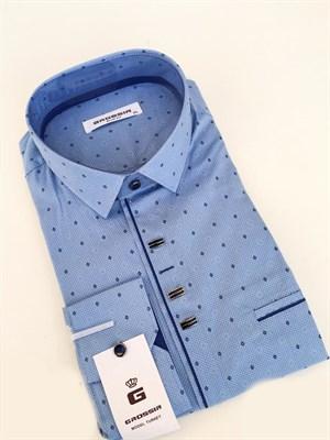 Сорочка приталенная голубая с узором - фото 5603