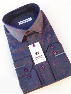 Сорочка приталенная фиолетовая - фото 5604