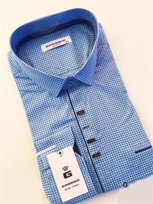 Сорочка мужская голубая в крапинку - фото 5605