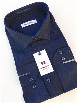 Сорочка мужская темно-синяя с узором - фото 5607