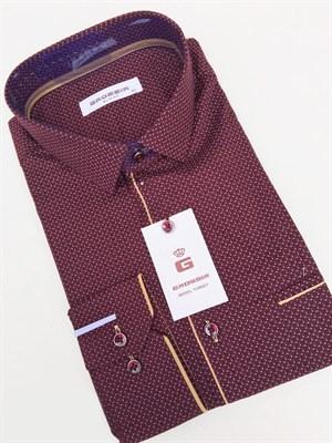 Сорочка мужская бордовая с узором - фото 5608