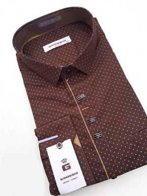 Сорочка коричневая с узором - фото 5609