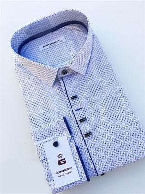 Сорочка белая в синюю крапинку - фото 5614