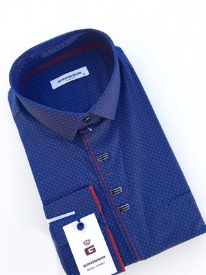Рубашка мужская синяя с узором - фото 5615