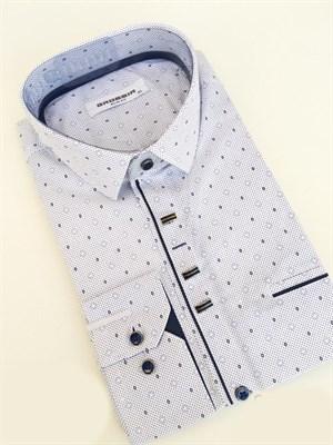 Сорочка приталенная белая с узором - фото 5616