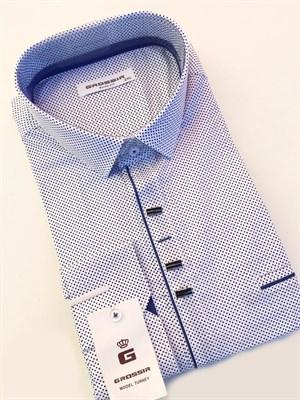 Сорочка приталенная белая в синюю крапинку - фото 5623