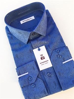 Рубашка приталенная синяя - фото 5624