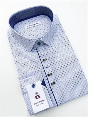 Сорочка мужская белая с синим узором - фото 5625