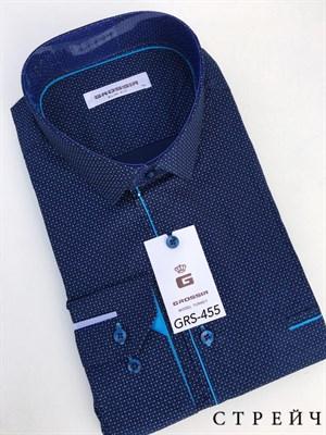 Сорочка мужская темно-синяя в крапинку - фото 5626