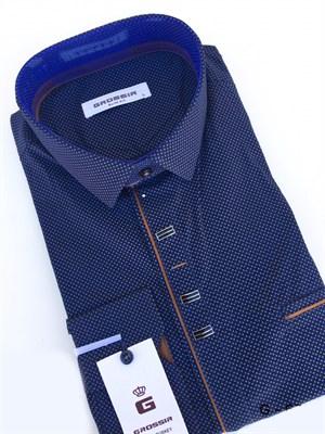 Рубашка темно-синяя в крапинку - фото 5627