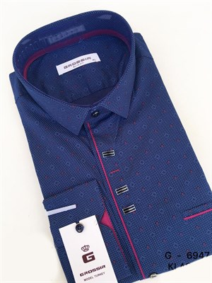 Рубашка приталенная темно-синяя с узором - фото 5628