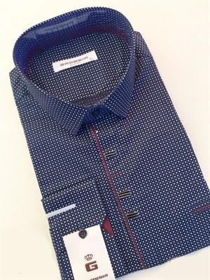 Мужская сорочка темно-синяя в крапинку - фото 5630