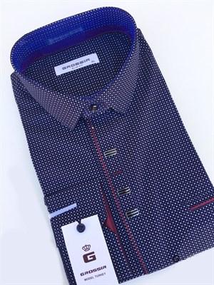 Мужская сорочка приталенная темно-синяя в крапинку - фото 5631