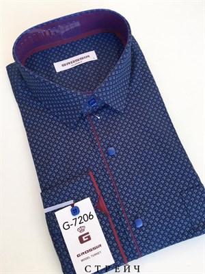 Мужская рубашка темно-синяя с узором - фото 5634