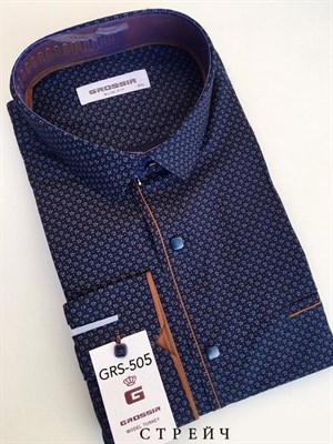 Мужская рубашка приталенная темно-синяя в крапинку - фото 5635