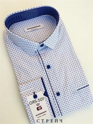 Мужская рубашка белая в синюю крапинку - фото 5637