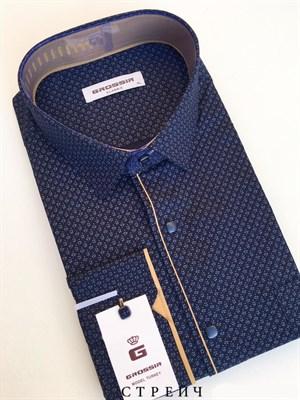 Сорочка классическая темно-синяя с узором - фото 5641