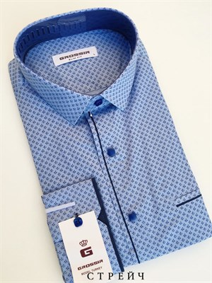 Сорочка мужская светло-синяя с узором - фото 5642