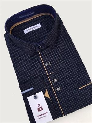 Сорочка мужская черная с узором - фото 5643