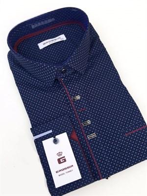 Сорочка мужская темно-синяя с кнопками - фото 5645