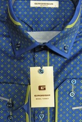 Сорочка синяя с зеленым узором - фото 5647