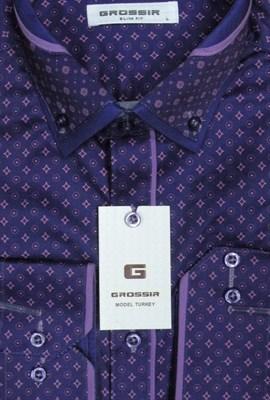 Сорочка мужская фиолетовая с сиреневым узором - фото 5648