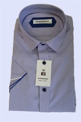 Сорочка мужская фиолетовая в мелкую полоску - фото 5658