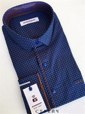 Сорочка темно-синяя с узором и кнопками - фото 5661