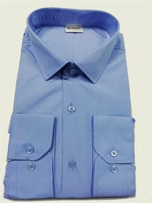 Мужская рубашка голубая в узкую полоску - фото 5662