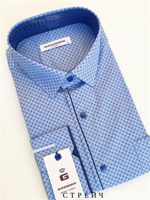 Мужская сорочка голубая с кнопками - фото 5663
