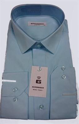 Сорочка мужская бирюзовая однотонная - фото 5668