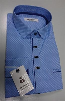 Мужская сорочка приталенная голубая с узором - фото 5669