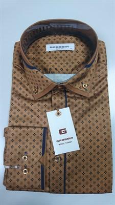 Сорочка мужская коричневая с узором - фото 5670
