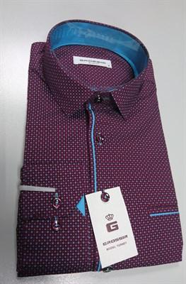 Сорочка бордовая с бирюзовым узором - фото 5671