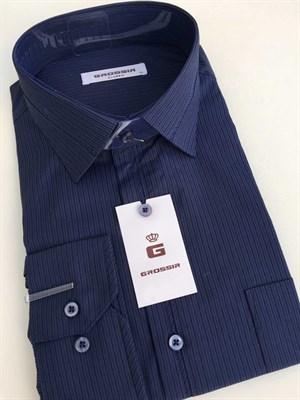 Мужская сорочка классическая темно-синяя в полоску - фото 5672