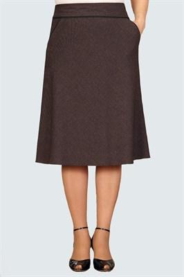 Юбка коричневая а-силуэта арт. 1254 - фото 6231